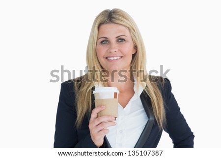 Smiling business woman holding a coffee cup in the white background