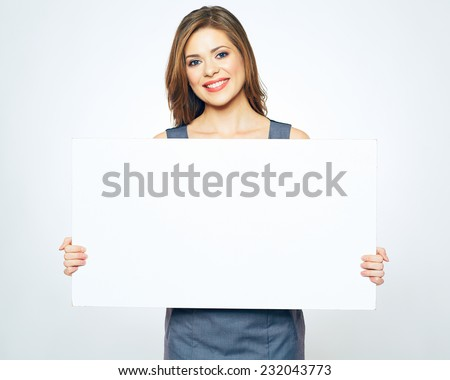 smiling business woman presenting sign board. white background isolated. business model portrait.