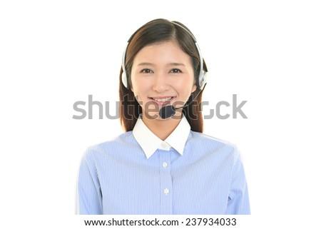 Female Call Center Operator Wearing Headset Stock Vector 348607739 ...