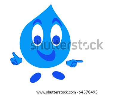 Smiling drop of water in gesturing OK, quality concept