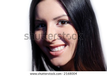 Smiling face of the young woman