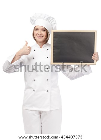 smiling female chef, cook or baker with blackboard showing thumb up isolated on white background. proposing restaurant menu. advertisement gesture