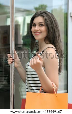 Woman Cooking Kitchen Opening Oven Door Stock Photo 45320491