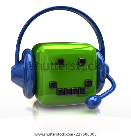 Smiling green cube with headset
