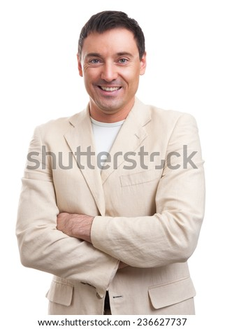 smiling handsome man isolated on a white background