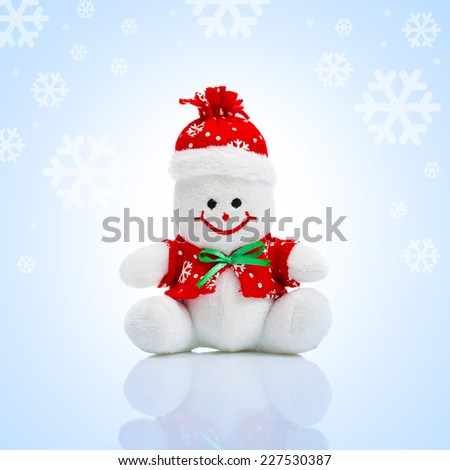 Smiling Happy Generic Christmas Snowman Toy as part of New Year's Celebration.