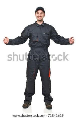 smiling manual worker with open arms on white background