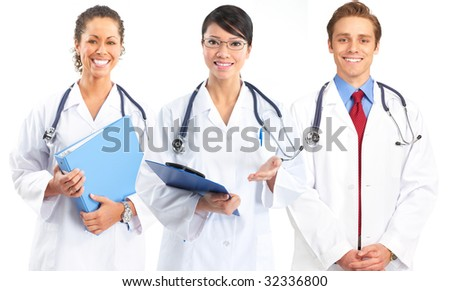 Smiling medical doctor with stethoscope. Isolated over white background