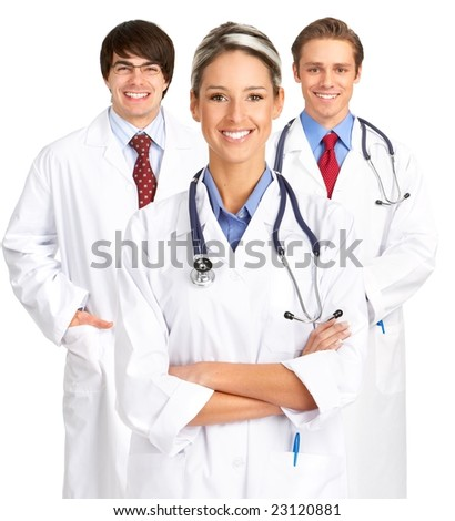 Smiling medical people with stethoscopes. Isolated over white background