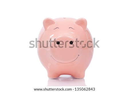 Smiling  Piggy bank isolated on white background