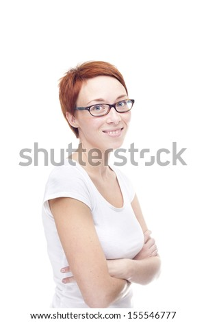 Smiling red head woman on white background