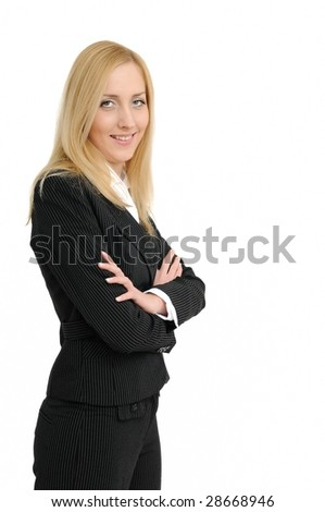 Smiling standing business woman isolated on white background