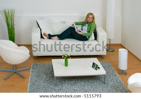 Smiling woman in a room