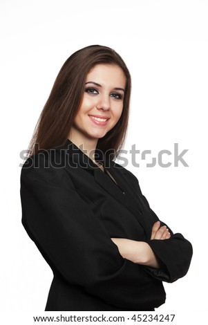 Smiling young business woman over white background.