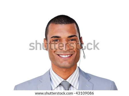 Smiling young customer service agent with headset on against a white background