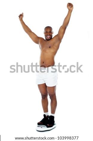 Naked Black Man Hiding Behind Blank Stock Photo 103998443