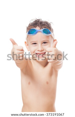 Smiling young swimmer on isolated white