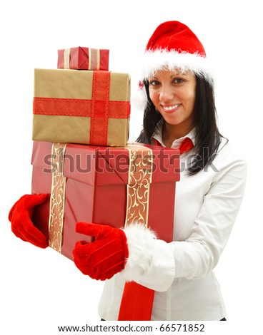 Smiling young woman with santa hat and red tie having gifts in her hands