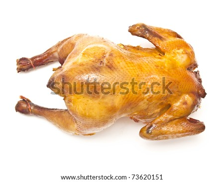 smoked chicken a white background