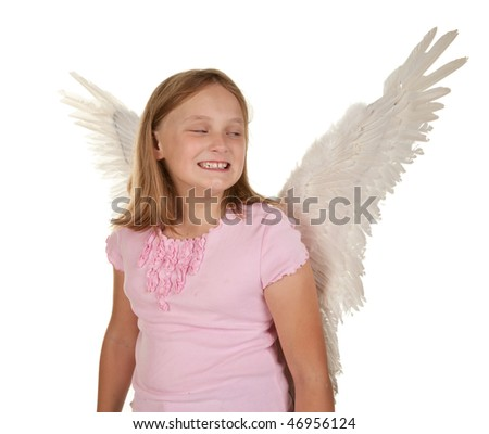 sneaky young angel or fairy girl with wings