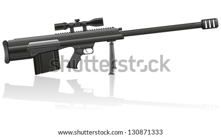 sniper rifle illustration isolated on white background