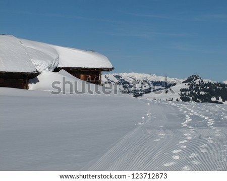 Snow Covered House Near Gstaad