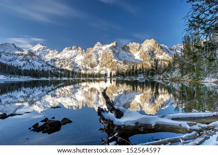 Snow covered mountains and cold lake