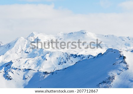 snow mountains in Paradiski skiing region, Les Coches - Montchavin , France