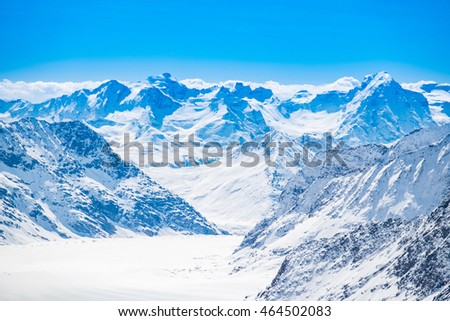 Snow mountains view at Jungfrau viewpoint, Switzerland
