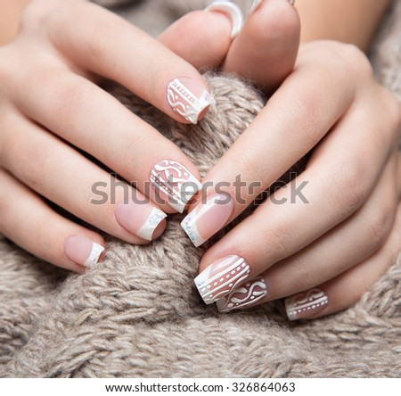Hand French Manicured Nails Stock Photo 435041215 ...