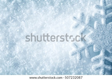 Snowflake on Snow, Blue Snow Flake Crystals Background, Winter Decoration