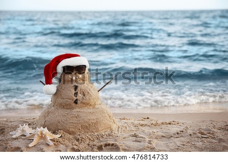 Snowman Made Out Sand Holiday Concept Stock Photo 115146025 ...