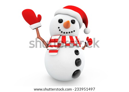 Snowman with santa hat and gloves on a white background
