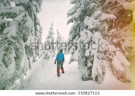 Snowy forest. Man standing in snowdrift and looks at fir tree. Color toning. Effect of old photos from scuffs and scratches