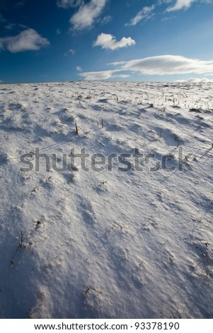Snowy mountain scenery with deep blue sky