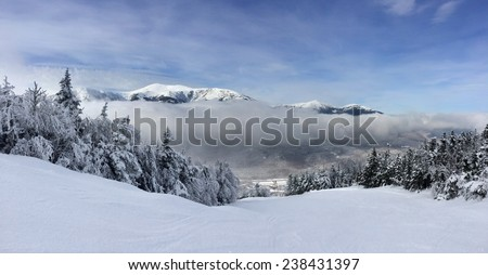 Snowy slope in the mountains