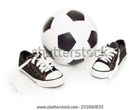 soccer ball and sport shoes on white isolated