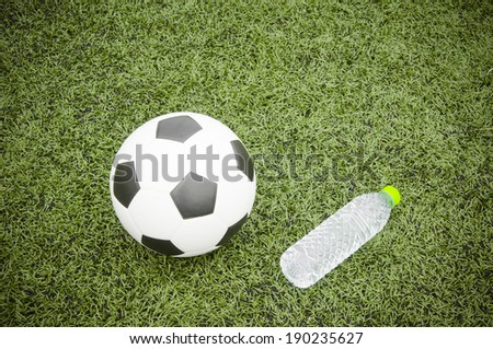 soccer ball and water bottle