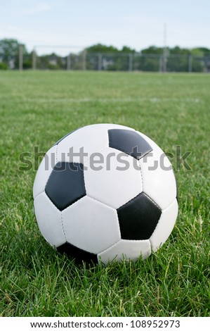 Soccer ball in the grass against blue sky