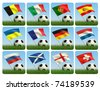 Soccer ball in the grass and the flag against the blue sky. European flags. 3d - stock photo