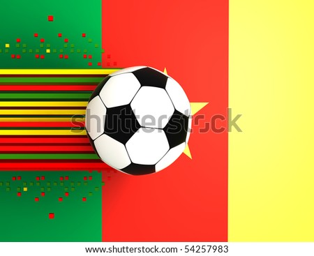 soccer ball on background of the flag cameroon
