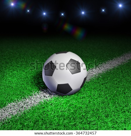 Soccer ball on grass field in the spotlight. 3D render