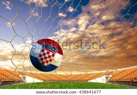 soccer ball team  Croatia into the goal Football on a white background.