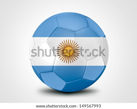 Soccer ball with Argentina flag isolated on white