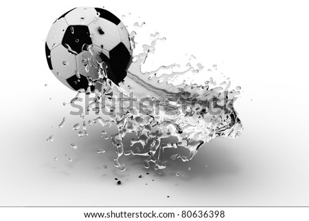 Soccer ball with water (3D render)