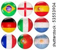 Soccer balls flags of top ranked countries 3d render - stock photo