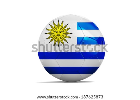 Soccer balls with teams flags, Football Brazil 2014. Group D, Uruguay