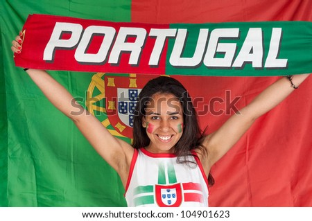 Soccer fan with a portuguese scarf