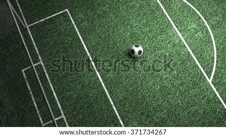 Soccer field and ball in center point