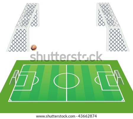 Soccer  field and goals realistic. Vector in my portfolio.